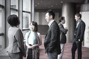Business team consulting in the foyer at a conference