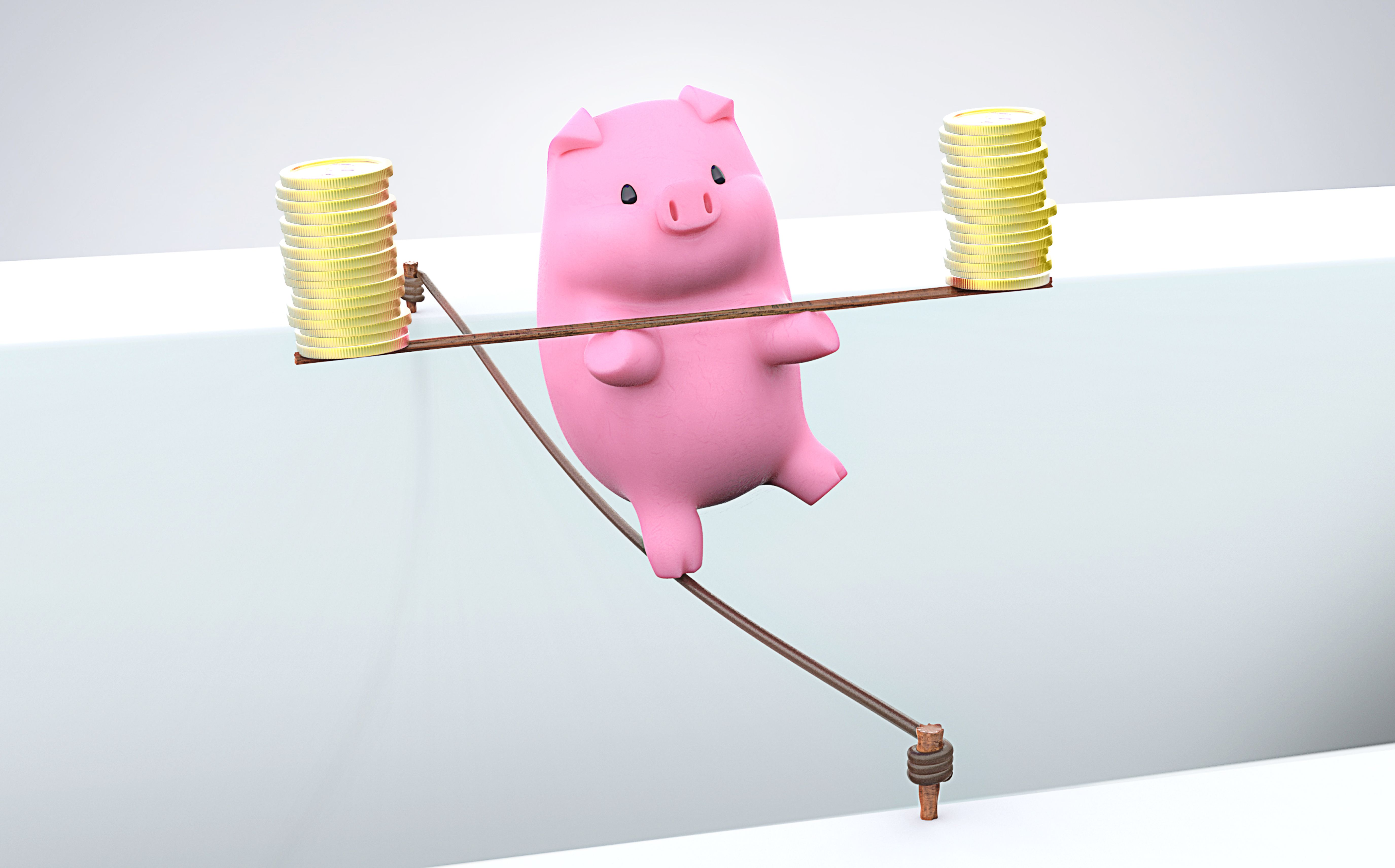 Piggy nank on a tight rope balancing gold coins