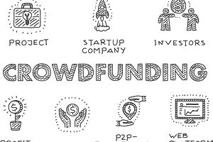 Crowdfunding icons set
