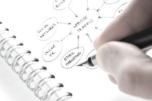 close up of a person drawing a marketing strategy flow on a notebook page