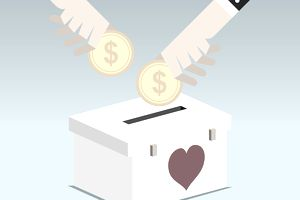 Illustration of two hands putting coins into a box with a heart on it.