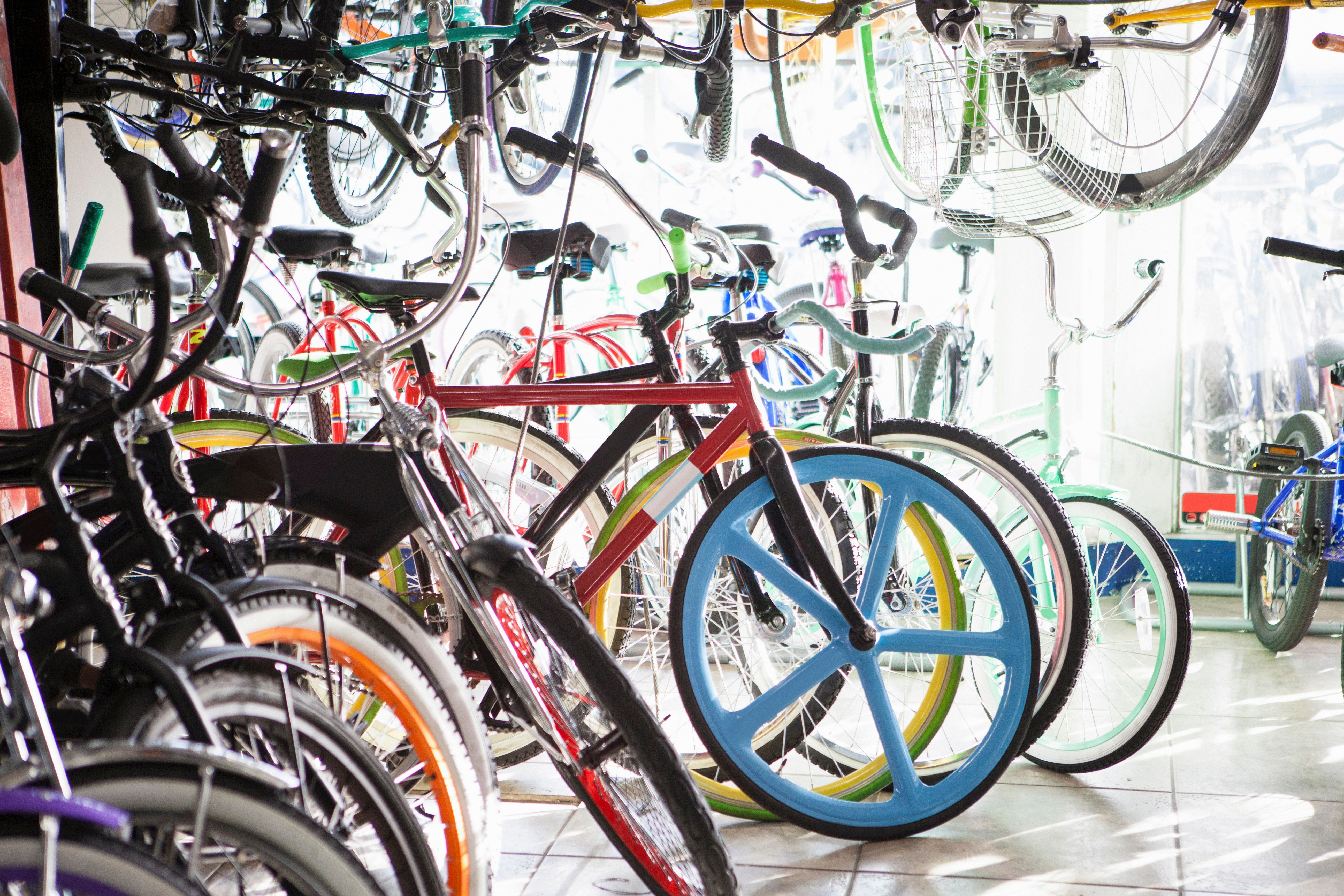 Bicycles for sale in shop
