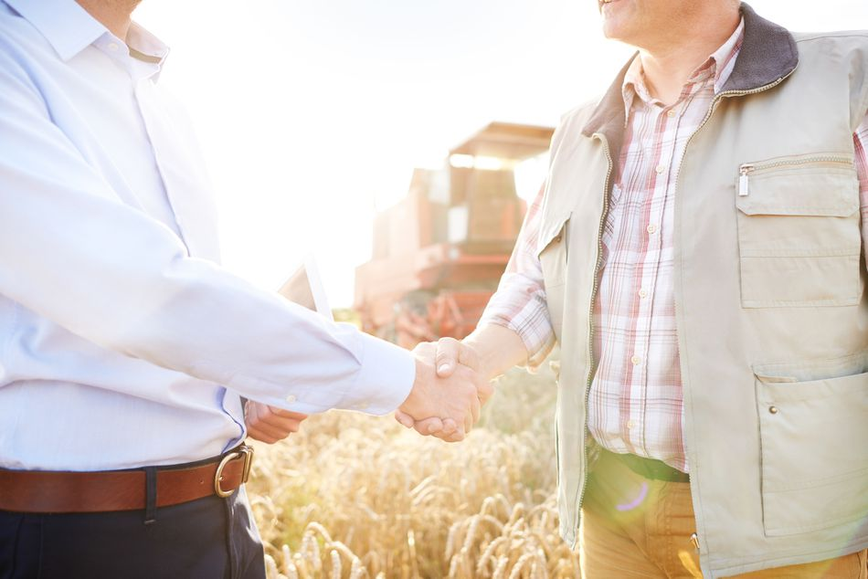 Cropped view of farmer and businessman in wheat field shaking hands