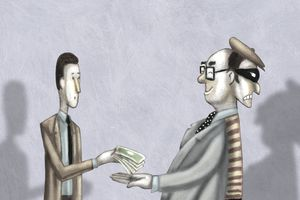 illustration of man handing over money to two-faced man looking trustworthy on one side and like a thief on the other