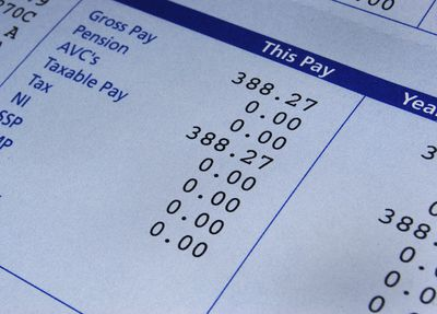 a check stub with itemized accounting of deductions