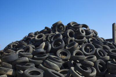 Mound of used tires in a dump