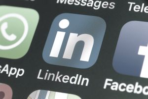 LinkedIn, Facebook, Snapchat and other phone Apps on iPhone screen