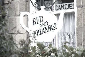 Teapot-shaped bed and breakfast sign