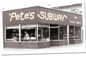 A 1968 photo of Pete's Subway which would later be branded as Subway.