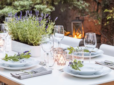 Festively laid table in the garden