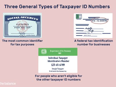Three general types of taxpayer ID numbers: Social security is the most common identifier for tax purposes, Dept of treasury is for people who aren't eligible for the other taxpayer ID numbers, you EIN is a federal tax identification number for businesses.