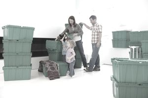 A family with storage cases