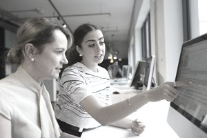 Businesswomen working at computer in office