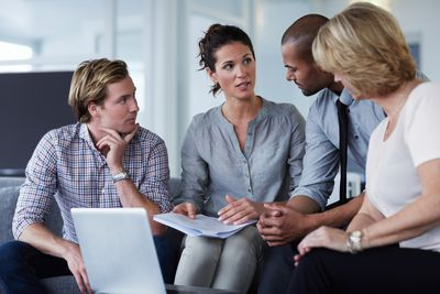 A group conducting business planning in an office