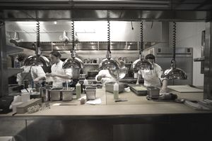 Chefs working in a restaurant kitchen