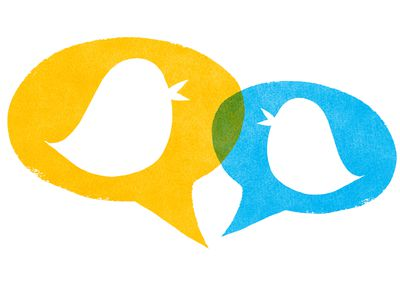 Birds with Yellow and Blue Speech Bubbles