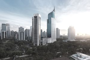 Jakarta business district with iconic BNI building