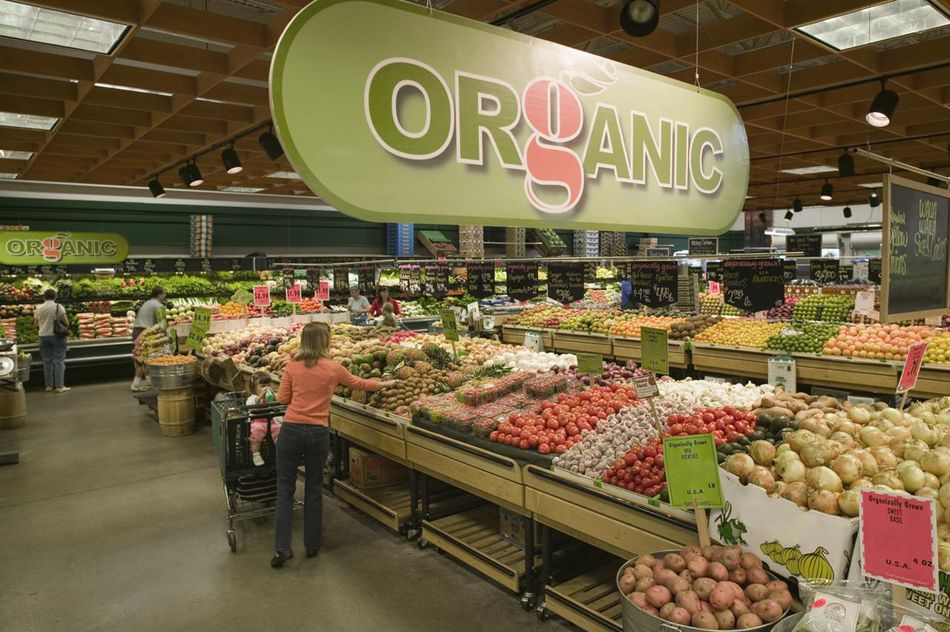 Organic aisle in grocery store