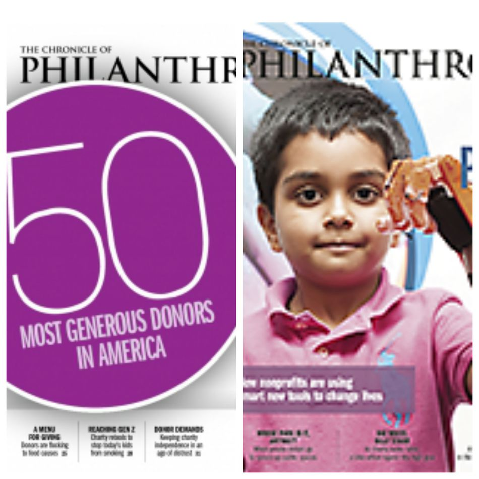 Collage of two Chronicle of Philanthropy covers.