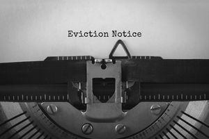 Text Eviction Notice typed on retro typewriter