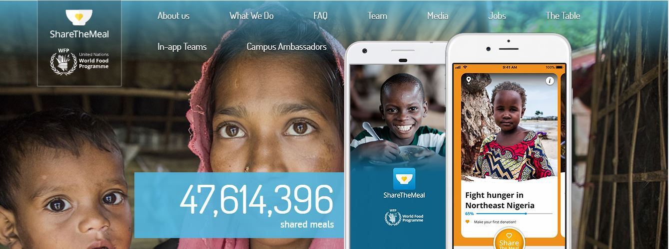 Screenshot from ShareTheMeal showing number of meals served so far.