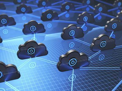 Cloud computing illustration showing the interconnections of separate cloud servers.