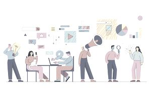 Illustration of a digital marketing team working with Internet icons around them.