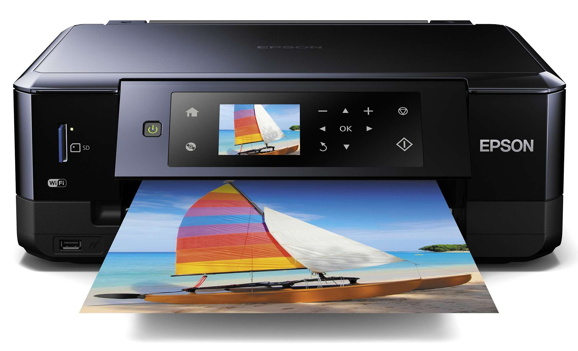 Closeup of a printer holding an image of a multi-colored windsurfer