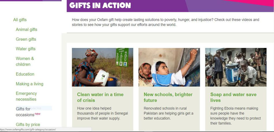 Screenshot from Oxfam's gift catalog