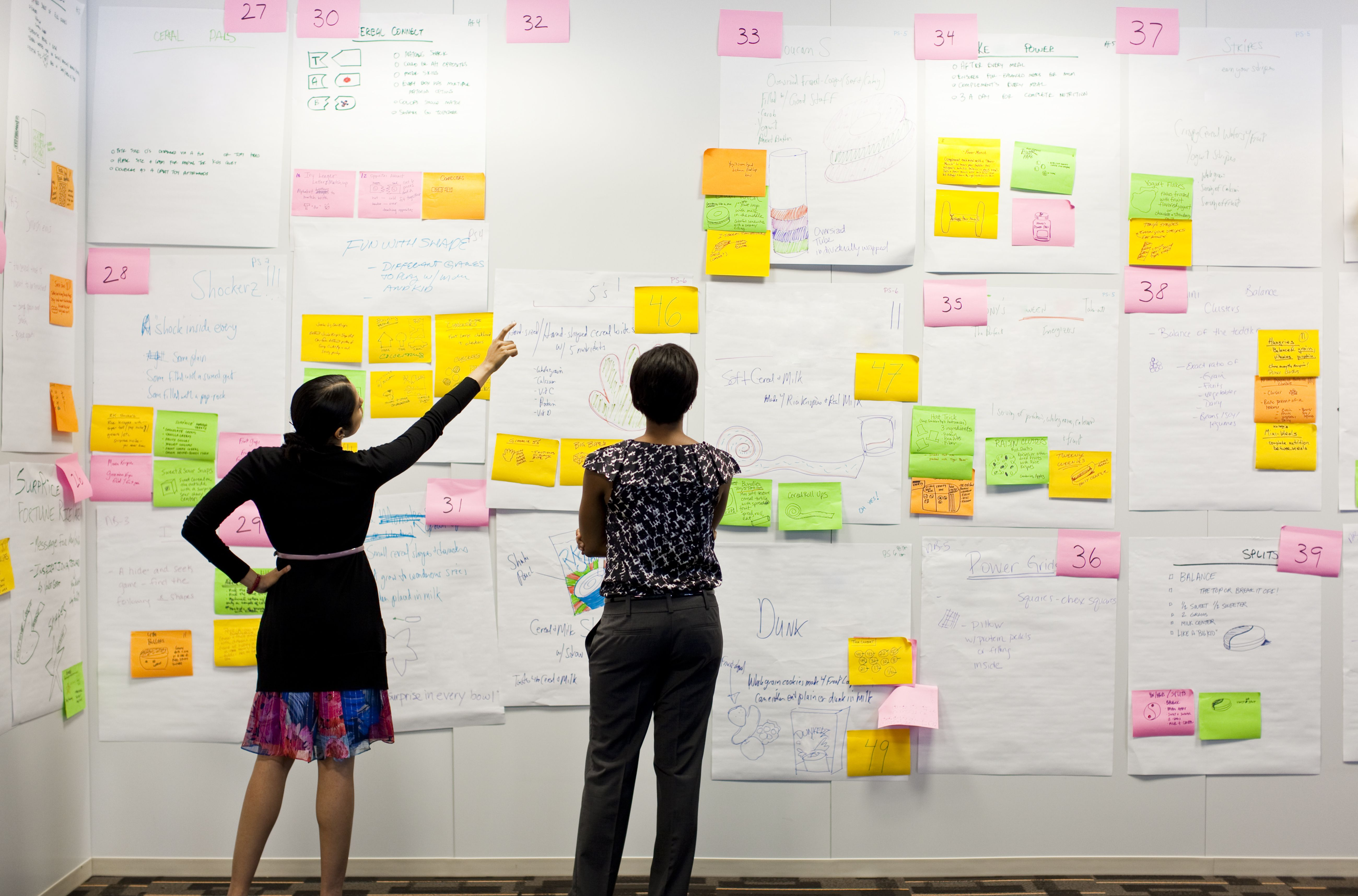 Two women looking at a wall covered in notes