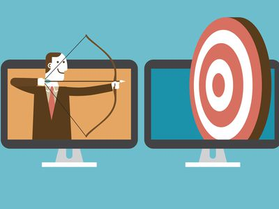 Cartoon businessman with bow and arrow shooting at a target indicating his niche market