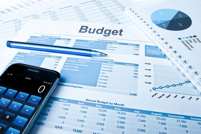 Sales Budget Plan with pie charts and a calculator