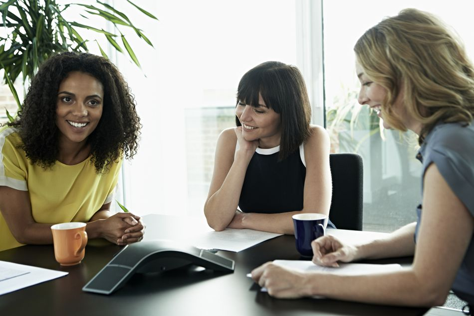 Business women on conference call