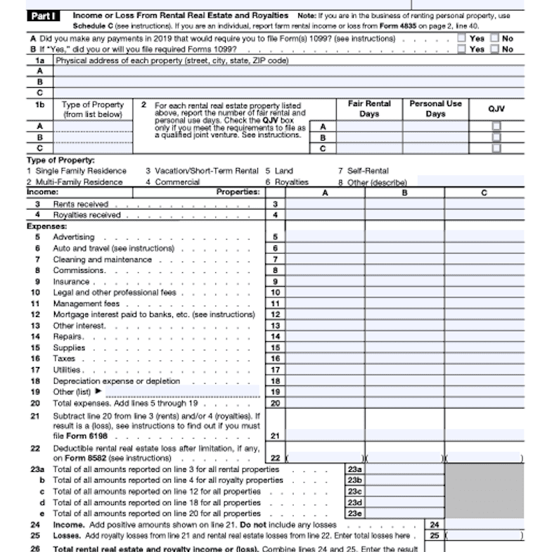 IRS Schedule E page 1