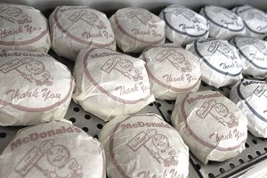 Wrapped cheeseburgers and hamburgers from the first McDonalds franchise of April 14, 2005 in Des Plaines, Illinois