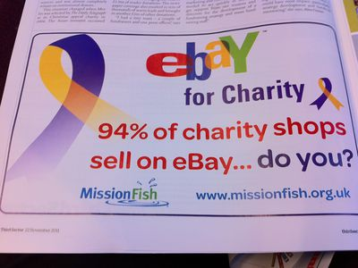 An advertisement for eBay and charity shops