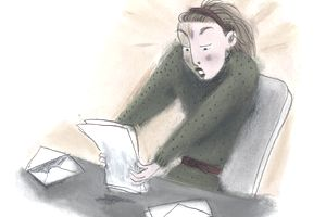 Drawing of a shocked woman reading a letter