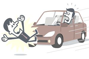 Businessman about to be hit by a car.