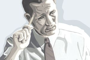 Drawing of businessman with thoughtful look on his face