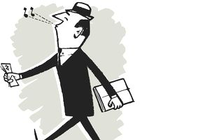 Businessman whistling and carrying money